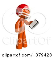Clipart Of An Orange Man Football Player Holding A Smart Phone Royalty Free Illustration