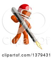 Clipart Of An Orange Man Football Player Holding A Fountain Pen Royalty Free Illustration