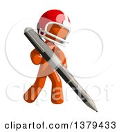 Clipart Of An Orange Man Football Player Holding A Pen Royalty Free Illustration