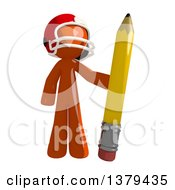 Clipart Of An Orange Man Football Player Holding A Pencil Royalty Free Illustration