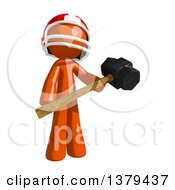 Clipart Of An Orange Man Football Player Swinging A Sledgehammer Royalty Free Illustration
