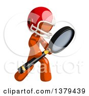 Clipart Of An Orange Man Football Player Searching With A Magnifying Glass Royalty Free Illustration