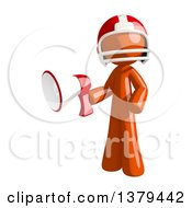 Clipart Of An Orange Man Football Player Using A Megaphone Royalty Free Illustration