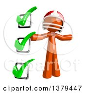 Clipart Of An Orange Man Football Player With A Check List Royalty Free Illustration