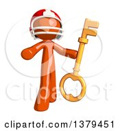 Clipart Of An Orange Man Football Player Holding A Key Royalty Free Illustration