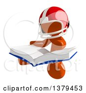 Clipart Of An Orange Man Football Player Reading A Book Royalty Free Illustration