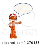 Clipart Of An Orange Man Football Player Talking Royalty Free Illustration