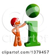 Clipart Of An Orange Man Football Player With An I Information Icon Royalty Free Illustration