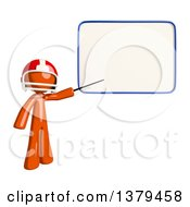 Clipart Of An Orange Man Football Player Pointing To A White Board Royalty Free Illustration