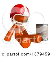 Clipart Of An Orange Man Football Player Begging With A Can Royalty Free Illustration