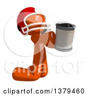 Orange Man Football Player Begging With A Can