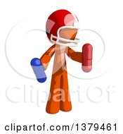 Clipart Of An Orange Man Football Player Holding Pills Royalty Free Illustration by Leo Blanchette
