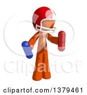 Orange Man Football Player Holding Pills