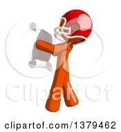 Orange Man Football Player Reading A Scroll