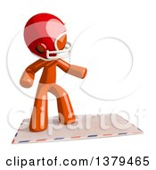 Clipart Of An Orange Man Football Player Surfing On An Envelope Royalty Free Illustration
