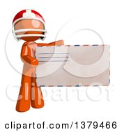 Clipart Of An Orange Man Football Player Holding An Envelope Royalty Free Illustration