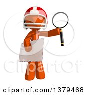 Clipart Of An Orange Man Football Player Holding An Envelope And Magnifying Glass Royalty Free Illustration