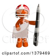 Clipart Of An Orange Man Football Player Holding An Envelope And Pen Royalty Free Illustration by Leo Blanchette
