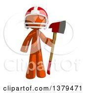 Orange Man Football Player Holding An Axe