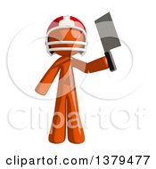 Clipart Of An Orange Man Football Player Holding A Knife Royalty Free Illustration by Leo Blanchette