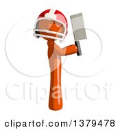 Clipart Of An Orange Man Football Player Holding A Knife Royalty Free Illustration
