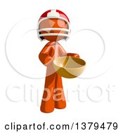 Clipart Of An Orange Man Football Player Holding A Bowl Royalty Free Illustration