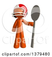 Clipart Of An Orange Man Football Player Holding A Spoon Royalty Free Illustration by Leo Blanchette