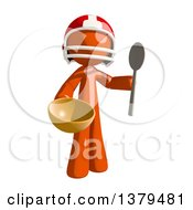 Clipart Of An Orange Man Football Player Holding A Bowl And Spoon Royalty Free Illustration