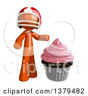 Clipart Of An Orange Man Football Player With A Cupcake Royalty Free Illustration by Leo Blanchette