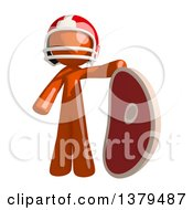 Clipart Of An Orange Man Football Player With A Beef Steak Royalty Free Illustration by Leo Blanchette