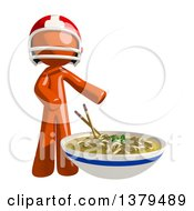 Clipart Of An Orange Man Football Player With A Bowl Of Noodles Royalty Free Illustration by Leo Blanchette