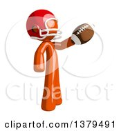 Clipart Of An Orange Man Football Player Holding A Ball Royalty Free Illustration by Leo Blanchette