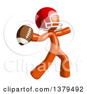 Clipart Of An Orange Man Football Player Throwing A Ball Royalty Free Illustration by Leo Blanchette