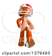 Clipart Of An Orange Man Football Player Resting A Foot On A Ball Royalty Free Illustration by Leo Blanchette