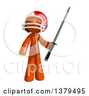 Clipart Of An Orange Man Football Player Holding A Katana Sword Royalty Free Illustration by Leo Blanchette