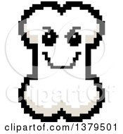 Clipart Of A Grinning Evil Bone Character In 8 Bit Style Royalty Free Vector Illustration