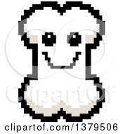 Clipart Of A Happy Bone Character In 8 Bit Style Royalty Free Vector Illustration