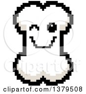 Clipart Of A Winking Bone Character In 8 Bit Style Royalty Free Vector Illustration
