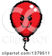 Grinning Evil Party Balloon Character In 8 Bit Style