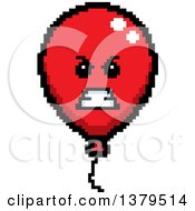 Clipart Of A Mad Party Balloon Character In 8 Bit Style Royalty Free Vector Illustration by Cory Thoman