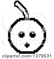 Clipart Of A Black And White Surprised Cherry Character In 8 Bit Style Royalty Free Vector Illustration by Cory Thoman