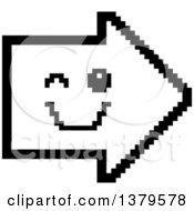Clipart Of A Black And White Winking Arrow In 8 Bit Style Royalty Free Vector Illustration
