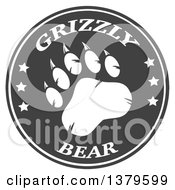 Clipart Of A Grizzly Bear Paw With Text On A Gray Circle Royalty Free Vector Illustration by Hit Toon