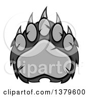 Clipart Of A Grayscale Grizzly Bear Paw Royalty Free Vector Illustration by Hit Toon