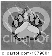 Clipart Of A Grayscale Grizzly Bear Paw Over Text On Slash Marks And Texture Royalty Free Vector Illustration by Hit Toon