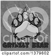 Clipart Of A Grayscale Grizzly Bear Paw Over Text On Slash Marks Text And Texture Royalty Free Vector Illustration by Hit Toon