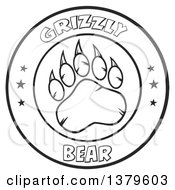 Clipart Of A Black And White Grizzly Bear Paw And Text In A Circle Royalty Free Vector Illustration by Hit Toon