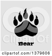 Clipart Of A Black Grizzly Bear Paw Over Text On Off White Royalty Free Vector Illustration by Hit Toon
