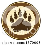Clipart Of A Grizzly Bear Paw On A Tan And Brown Circle Royalty Free Vector Illustration by Hit Toon