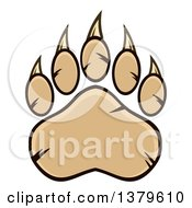 Clipart Of A Tan Grizzly Bear Paw Royalty Free Vector Illustration by Hit Toon
